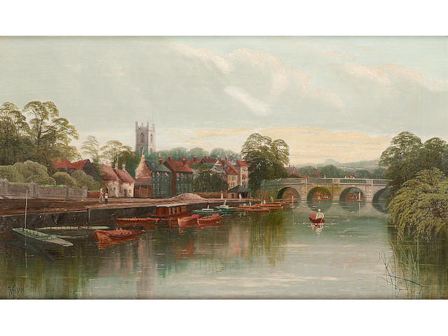 R.Allam (British, 19th Century) A view of the Thames at Henley, signed oil on canvas, 48.5 x 29cm.