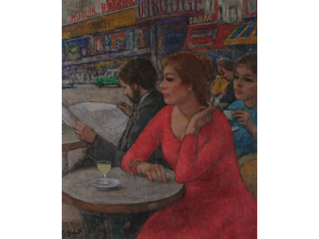 Francois Gall (French, 1912-1987) 'Devant la Moulin Rouge.'