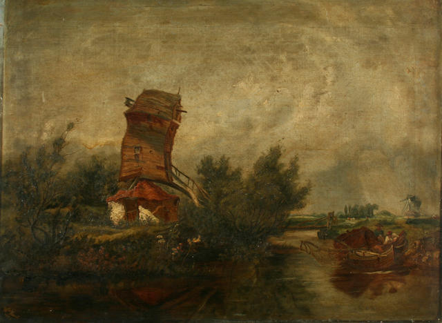 Attributed to William Howes Hunt (1806-1879) River landscape with men in a boat by a mill,