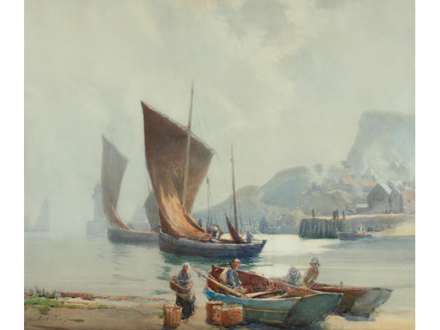 Hubert Coop (1872-1953) Fishing fleet setting sail, (possibly Scotland),