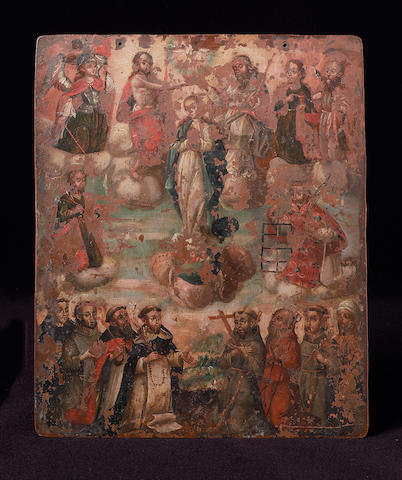 A 16th / 17th century Spanish School oil painting on copper depicting the Coronation of the Virgin