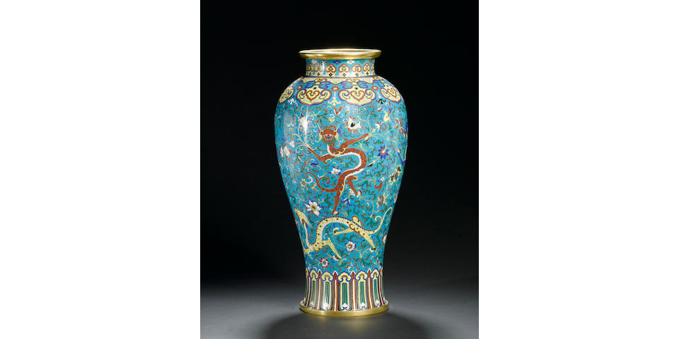 A fine and rare gilt-bronze and cloisonné enamel baluster vase, meiping Intaglio-cast Jiaqing seal m