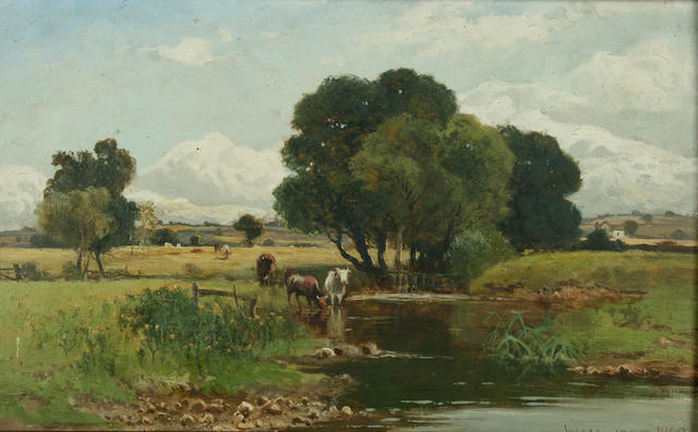 William Manners (circa 1865-circa 1940) River landscape with cattle,