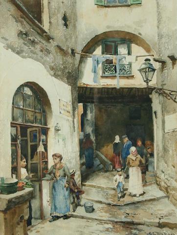 Charles-Edouard Dubois (1847-1885) Parisian alleyway,