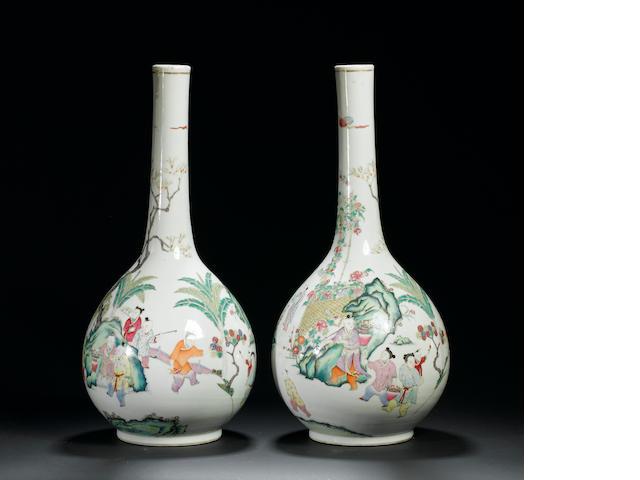 A pair of famille rose bottle vases 19th century