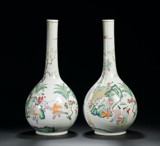 A pair of famille rose bottle vases 19th century