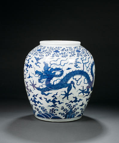A fine and large blue and white 'dragon' jar Wanli six-character mark and of the period