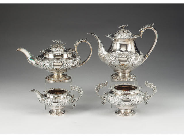 A four piece George IV / William IV silver tea and coffee set, possibly by William Hattersley, London 1831,  (4)