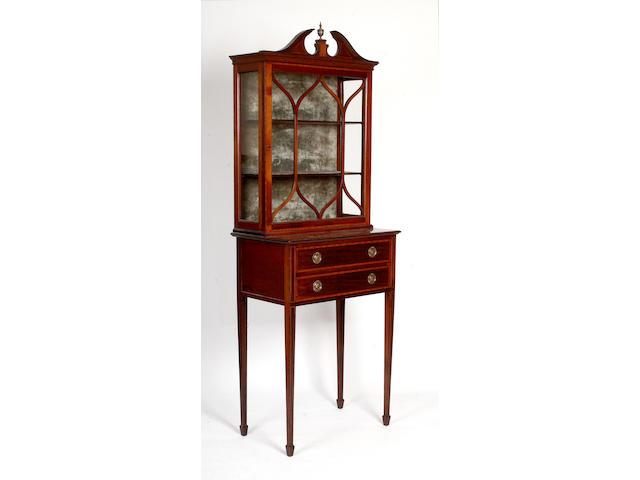 A Sheraton revival satinwood banded mahogany table display cabinet