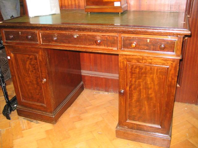 A mahogany pedestal desk,