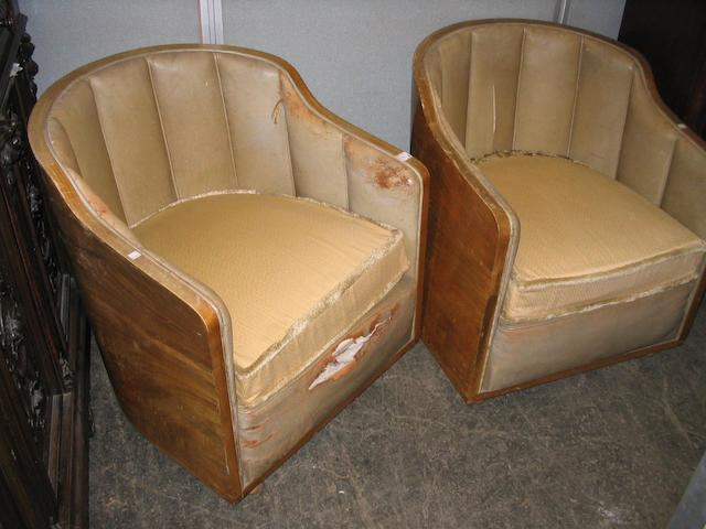 A pair of 1930's Art Deco walnut tub chairs,