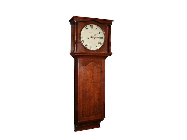 An oak white dial longcase wall clock, Richard Hardy, Newark, circa 1830,