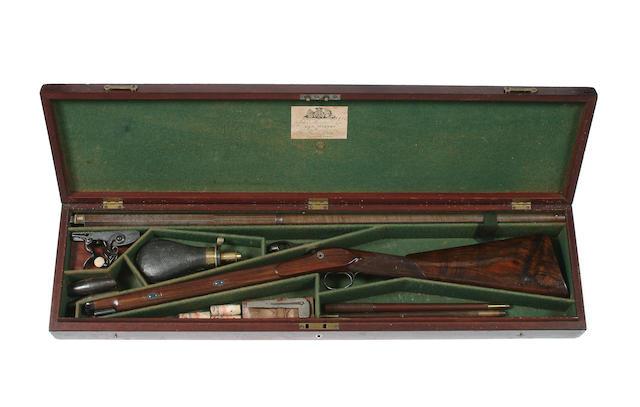 A Fine And Rare Cased 16-Bore Flintlock Sporting Gun