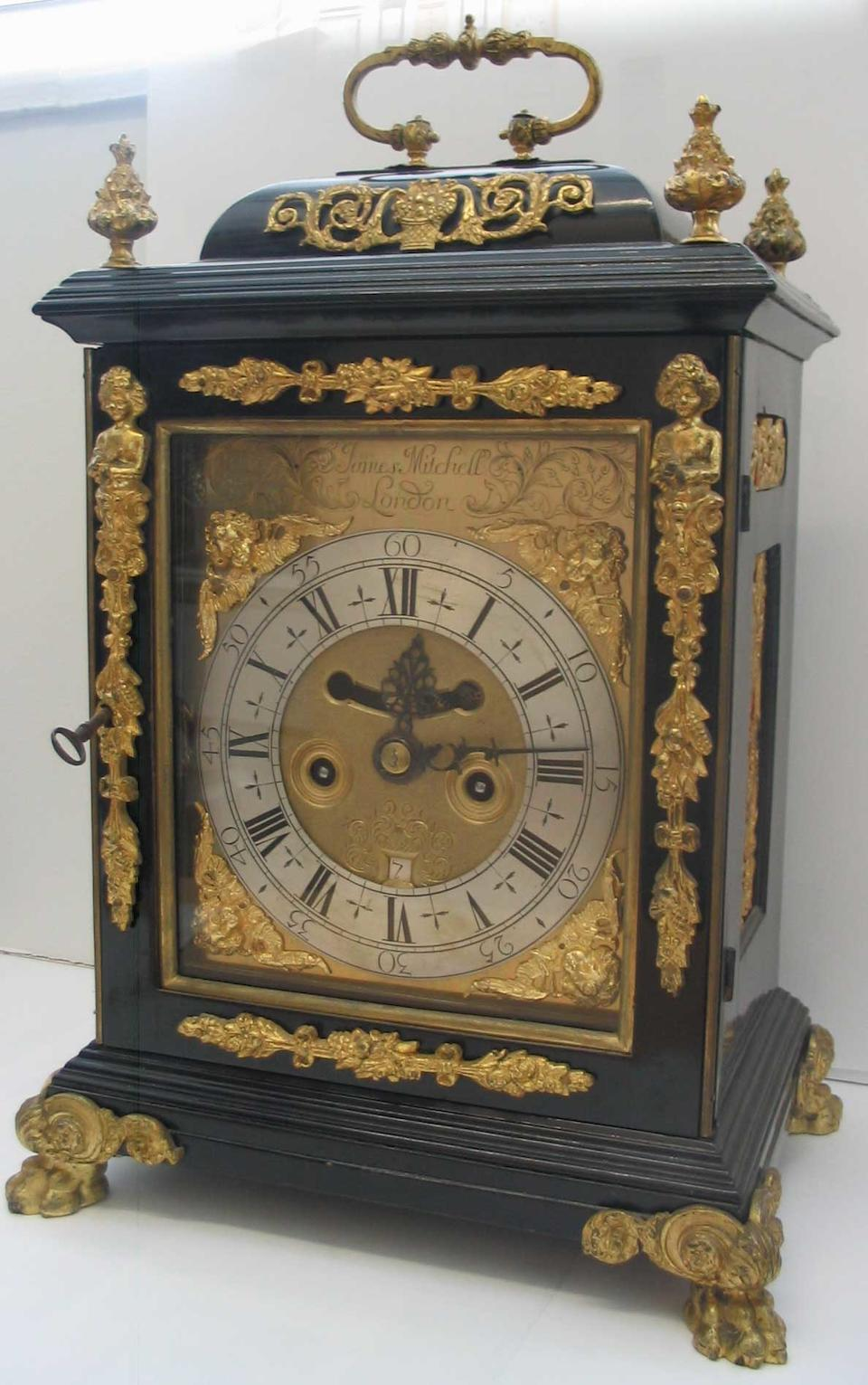 A ting-tang quarter chiming ebonised bracket clock James Mitchell, London
