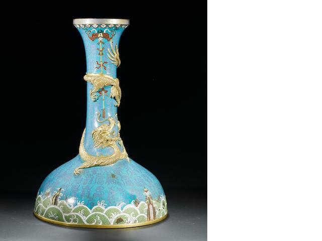A rare large cloisonné enamel 'auspicious dragon' vase Qianlong/Jiaqing