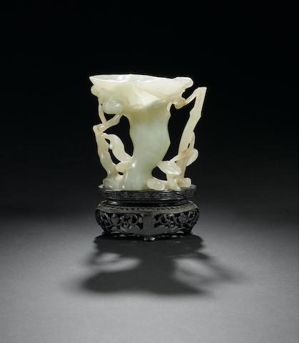 A celadon jade 'lingzhi fungus' vase  Qianlong