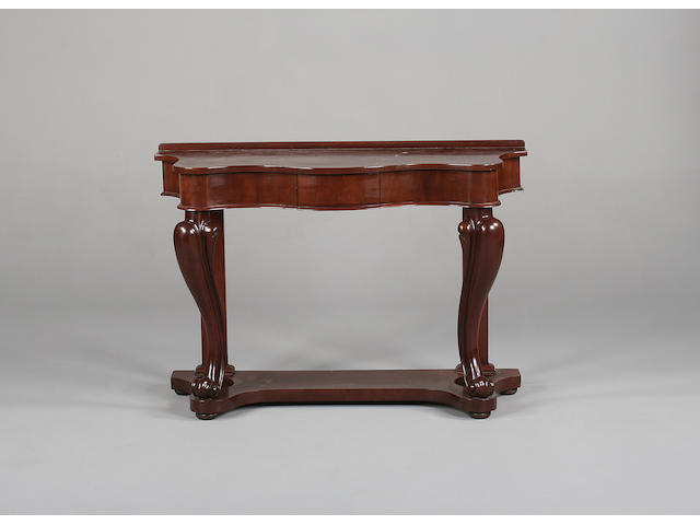 A Victorian mahogany console table/hall stand, 125cm wide.