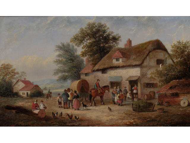 E. Masters (British, 19th Century) Figures outside an inn. each 21.5 x 35.5cm (8 1/2 x 14in) (2)