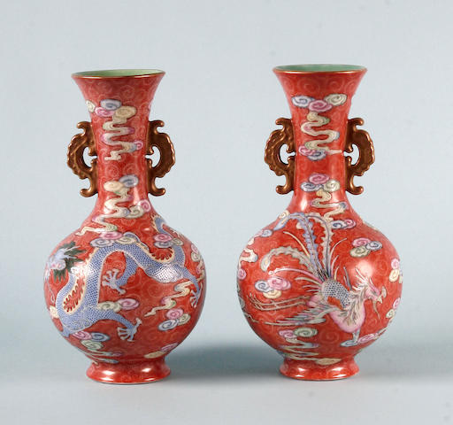 A pair of Chinese enamel vases  early 20th Century, Qianlong style mark