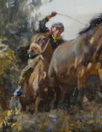 Sir Alfred James Munnings P.R.A., R.W.S. (1878-1959) Helter Skelter 44 x 54.3 cm. (17 3/8 x 21 3/8 in.) (unframed)