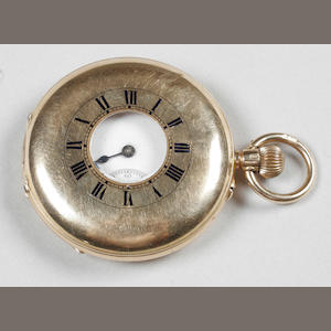 A 15 carat gold half hunter lever movement pocket watch