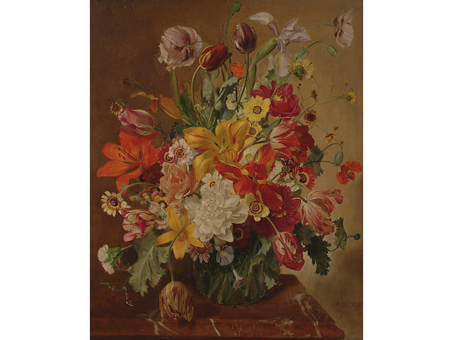 Franz Xaver Wolf (Austrian, 1896-1990) An impressive still life of flowers on a marble ledge,
