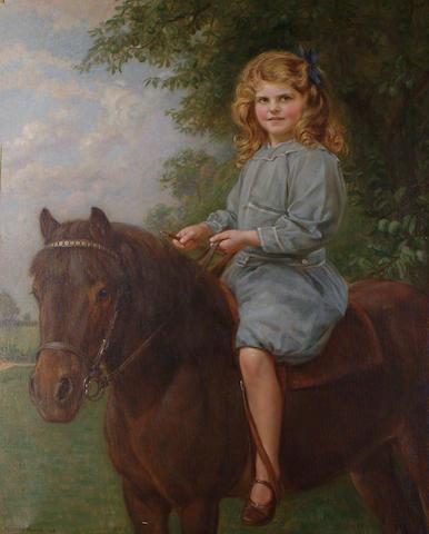 John Bernard Munns (British, 1869-1942) Her first pony.