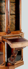 A late Victorian walnut  bookcase and writing cabinet