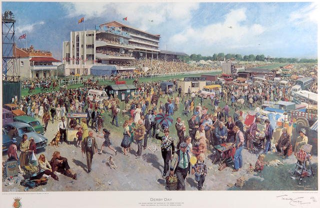 """Terence Cuneo (1907-1996) """"Derby Day - The scene before the running of the Derby Stakes 1979"""" 40 x 67cm (15¾ x 26¼in), together with a print of """"Troy"""" by Susan Crawford and """"Brigadier Gerard"""" by Juliet McLeod. (3)"""