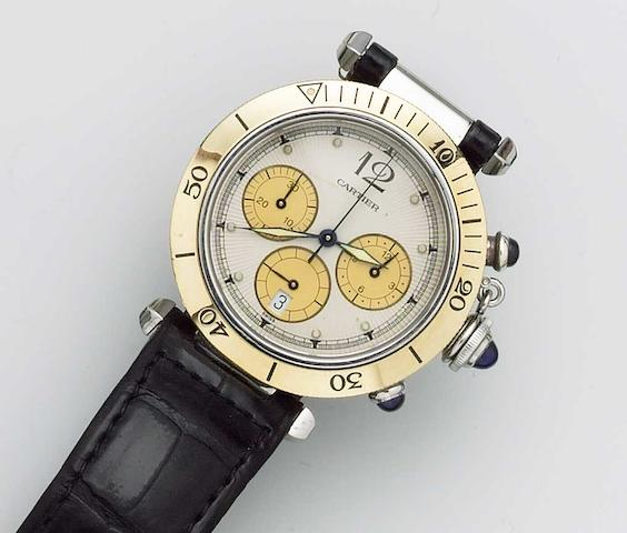 Cartier. A stainless steel and gold quartz chronograph wristwatch on leather strap. Pasha