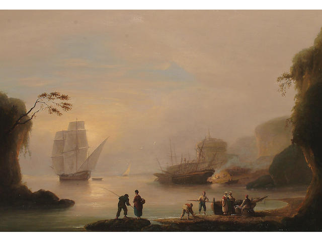 Thomas Luny (British, 1759-1837) Ships in a harbour with fisherfolk in the foreground.