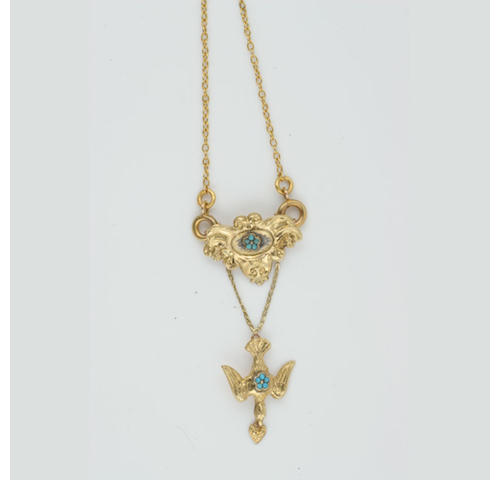 A mid-19th Century turquoise set pendant, (4)