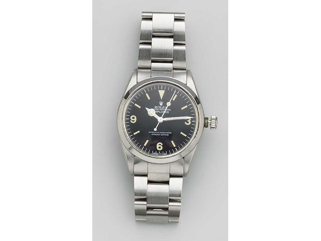 Rolex. A stainless steel automatic bracelet watch with box and papers Explorer, Ref:1016, Sold in 1967