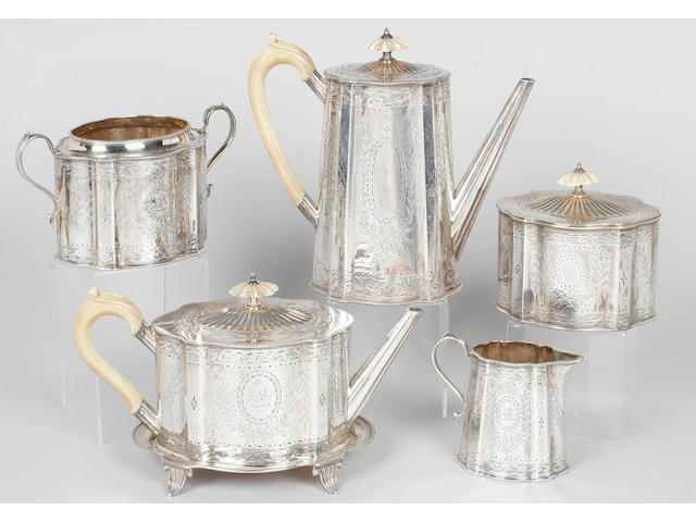 A Victorian six piece tea set By William & George Sissons, 1868,