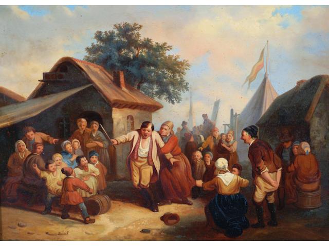 Dutch School 19th Century Figures merry making,