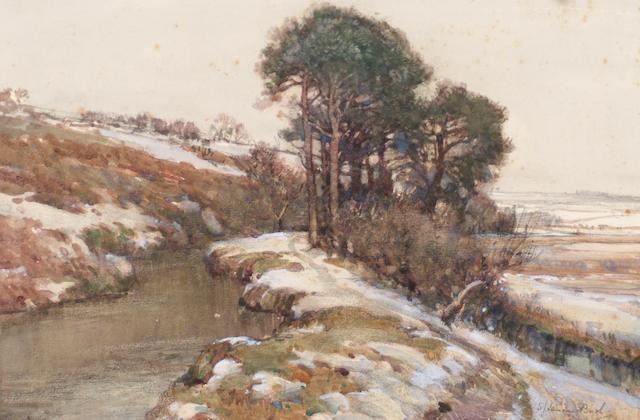 Samuel John Lamorna Birch (1869 - 1955) Winter river landscape,