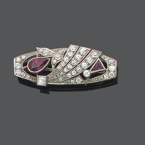 An art deco ruby and diamond brooch,