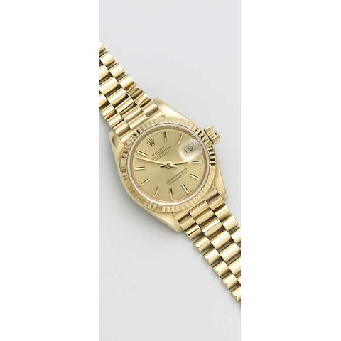 Rolex. An 18ct gold automatic bracelet watchDatejust, Sold in 1984 (af)