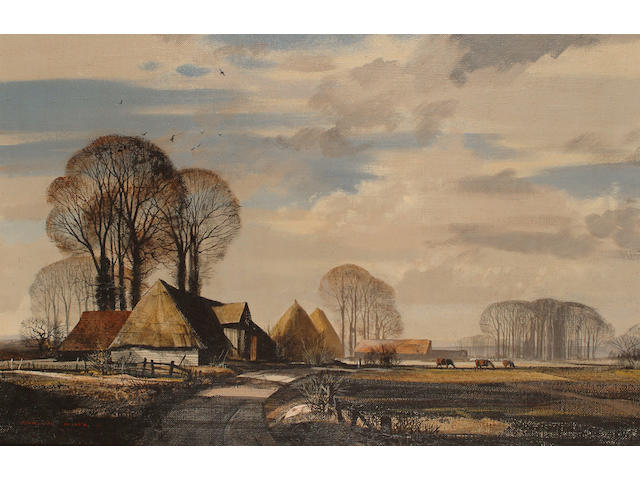 Rowland Hilder (British, 1905-1993) 'Old Barn and Winter Trees on the Isle of Grain (North Kent).'