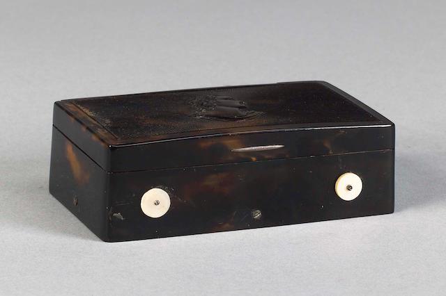 A musical tortoiseshell snuff box, Swiss, mid 19th century,
