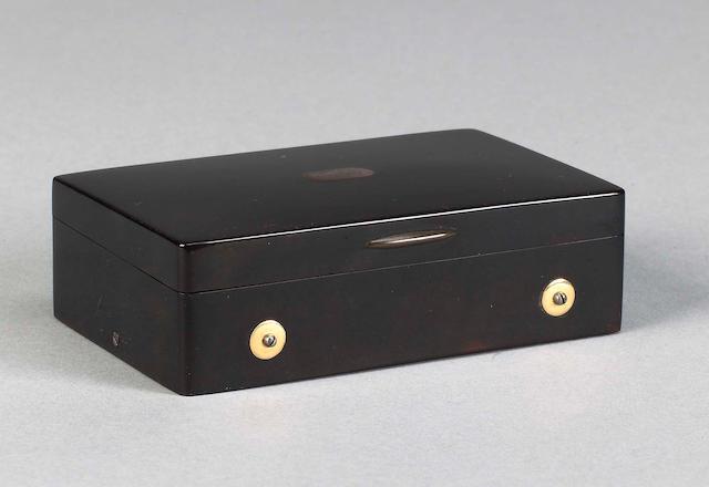 An F Nicole musical tortoiseshell snuff box, Swiss, mid 19th century,