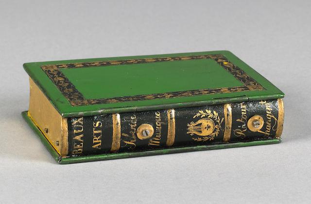 An F Nicole  novelty book-form cylinder musical box, Swiss, circa 1840,