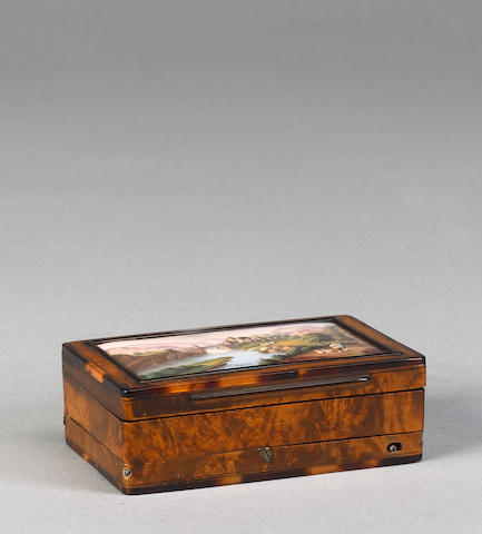 A musical amboyna, tortoiseshell and enamel snuff box,  Swiss, circa 1830,