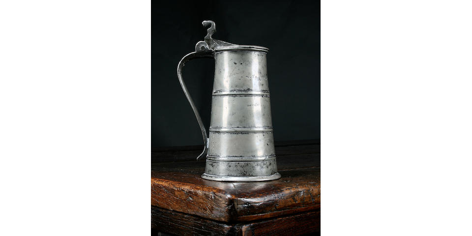 A rare hooped quart tankard, early 17th Century