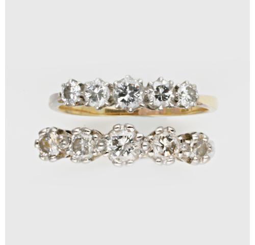 A five stone diamond ring, (3)