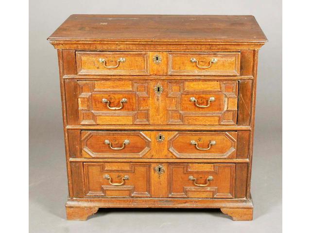 A late 17th century oak chest,
