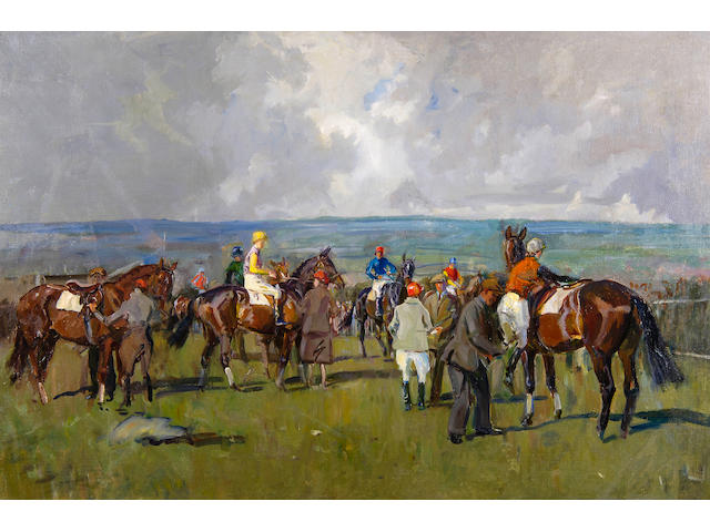 Peter Biegel (1913-1988) The race meeting 61 x 76cm(24 x 36in), unframed.