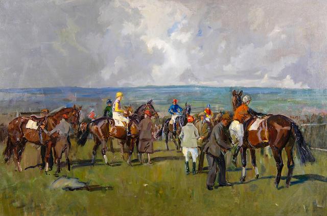 Peter Biegel (1913-1988) The race meeting 61 x 76cm(24 x 36in), unframed.