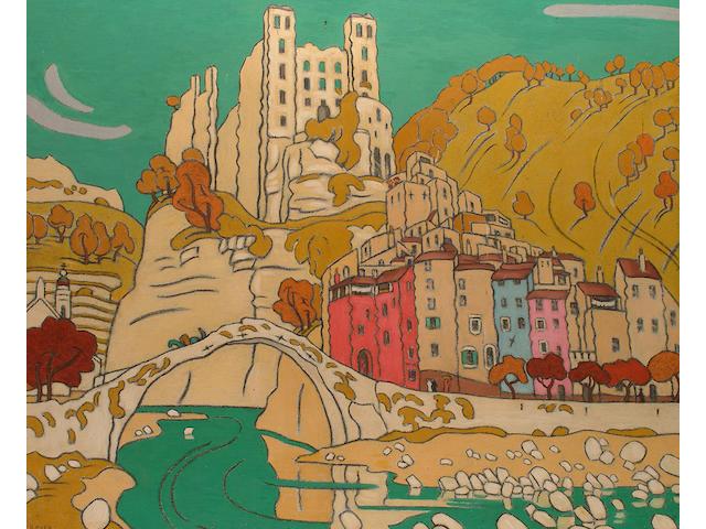 Claude Francis Barry (British, 1883-1970) Townscape, Dolceacqua.