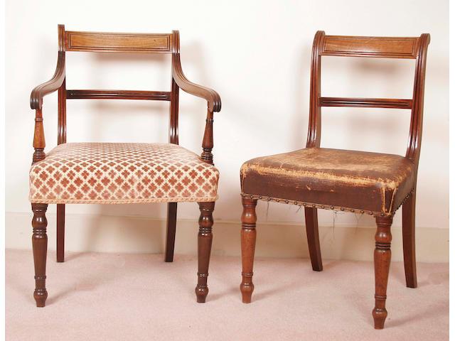 A set of six Georgian mahogany dining chairs,